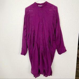 Yves Saint Laurent Rive Gauche Purple Button Dress